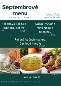 Septembrové menu Reštaurácia Vysoké Tatry Tatranská Lomnica
